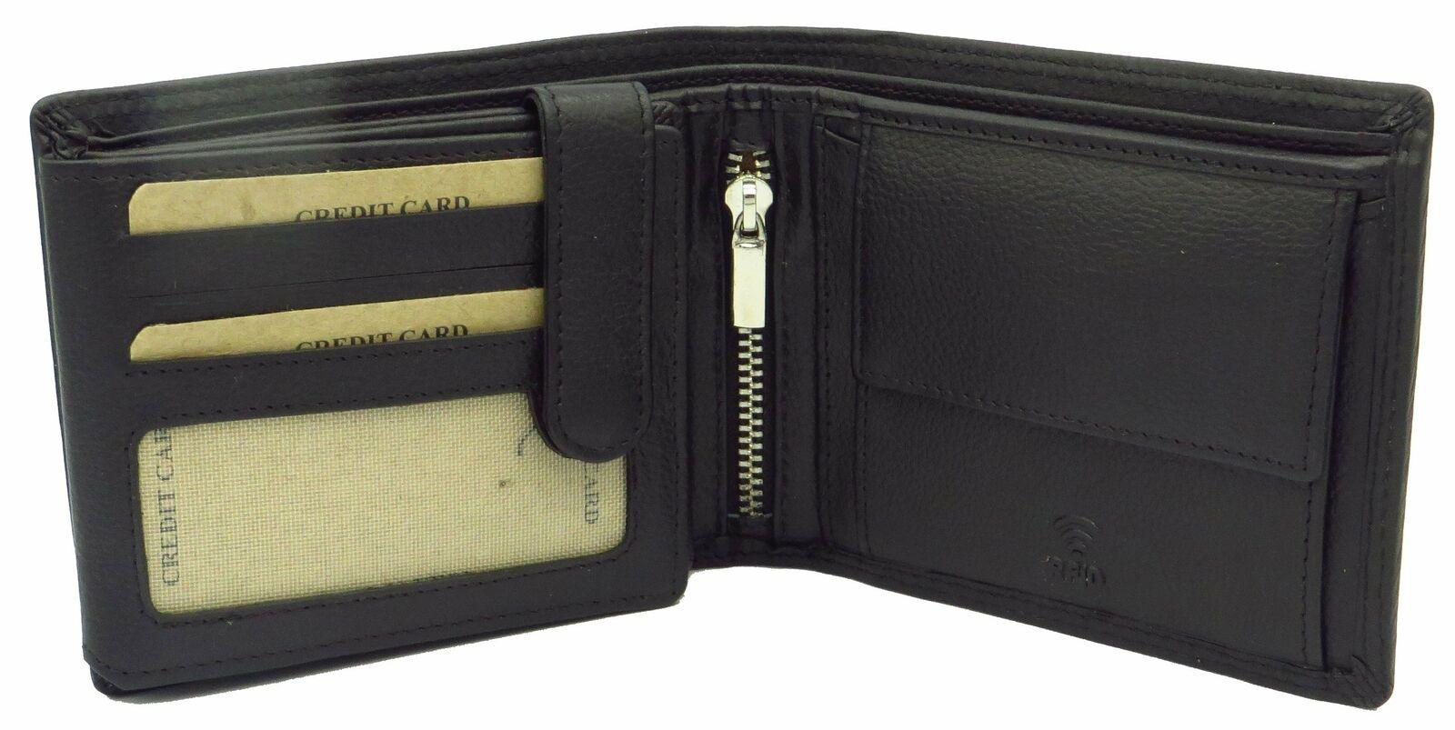 Geldbörse für Herren schwarz Rindsleder Querformat mit RFID Diebstahlschutz