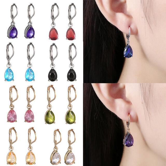 Women Jewelry Gift Teardrop Crystal Rhinestone Drop Dangle Earrings 1 Pair