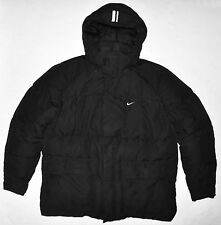 Nike Black Distressed Down Blend Puffer Winter Jacket Coat Removable Hood Large
