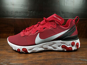 Details about Nike React Element 55 (Gym Red Wolf Grey White) [BQ6166 601] NSW Mens 8 12