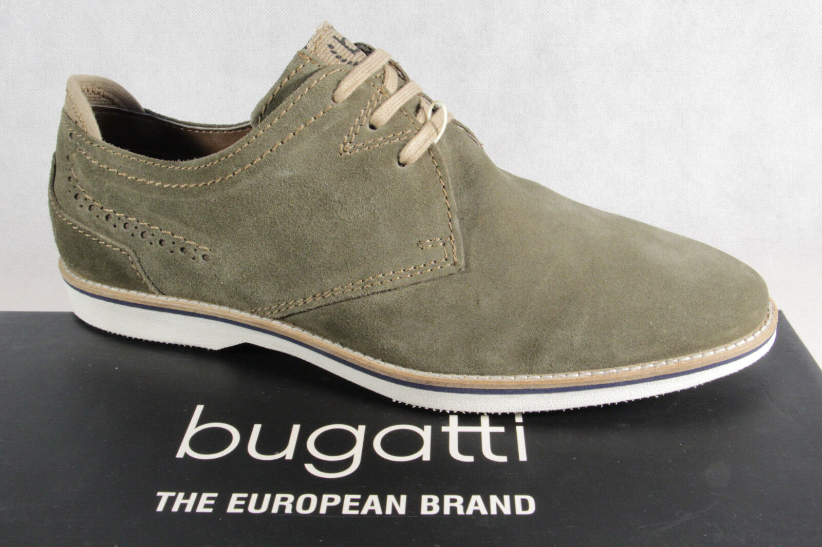 Bugatti Homme Chaussures à Lacets Basses Baskets Olive Neuf