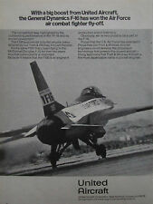 1/1975 PUB PRATT & WHITNEY F100 GENERAL DYNAMICS YF-16 US AIR FORCE ORIGINAL AD