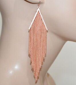 BOUCLES d' oreilles femme or rose pendentifs fils longs cérémonie élégant A7