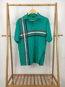 VTG-PGA-Tour-Teal-Striped-Thin-Short-Sleeve-Polo-Shirt-Size-L