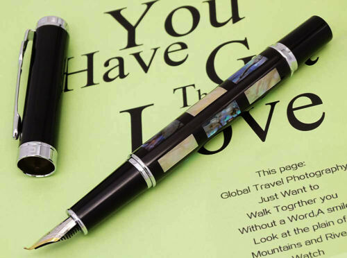 Details about  /Jinhao 8802 Sea Shell Bent Nib Fountain Pen Fude Calligraphy Writing Office Pen