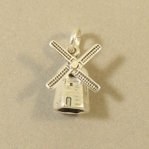 925-Sterling-Silver-3-D-DUTCH-WINDMILL-CHARM-Holland-Solvang-NEW-925-TR43