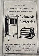 Columbia GRAFONOLA D2 & All Floor Models phonograph OPERATING INSTRUCTION MANUAL