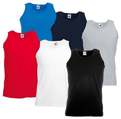Fruit Of The Loom Plain Mens Tank Tops Athletic Vest Gym Training Sports T Shirt Schnelle Farbe