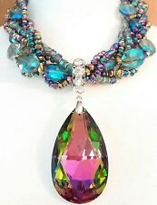 WATERMELON HELIOTROPE FACETED GLASS CRYSTAL & AB GLASS BEADS RUNWAY NECKLACE