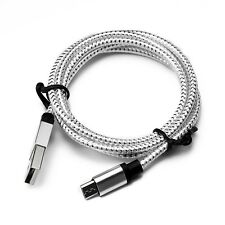 1M/3FT Silver Micro USB A to USB 2.0 B Braided Fast Data Sync Charger Cable