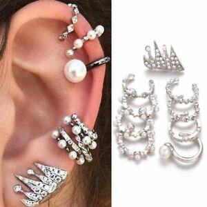 9PC-set-Fake-Clip-on-Pearl-Earring-Piercing-Crystal-Ear-Cuff-Clip-Wrap-Cartilage