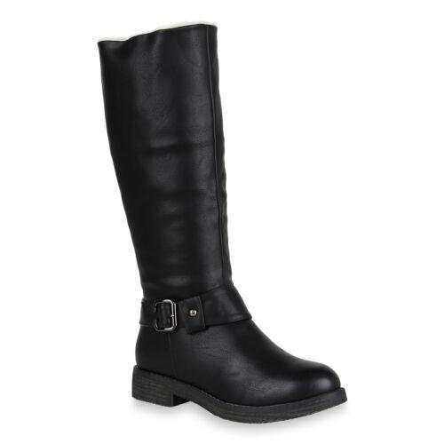 Klassische Damen Stiefel Warm Gefütterte Winterstiefel Leder-Optik 820201 Schuhe