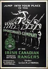 WW1 RECRUITING POSTER SPORTSMANS COM CANADIAN 199TH IRISH RANGERS  NEW A4 PRINT