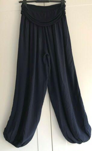 ITALIAN Lagenlook NAVY Boho Hippy Harem Pants Lounge Trousers Yoga Size 10-16