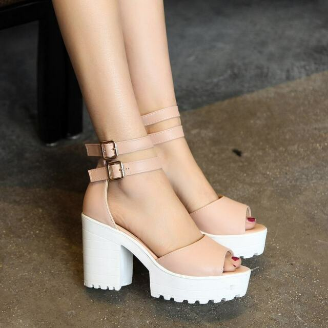 New Sandals Shoes Girls Womens Platform Buckle Strappy High Chunky Heels Roman