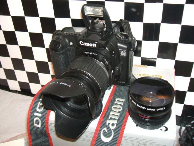 Canon EOS 20D 8.2MP Appareil Photo Reflex Numérique-Blackwith Trois Lentilles