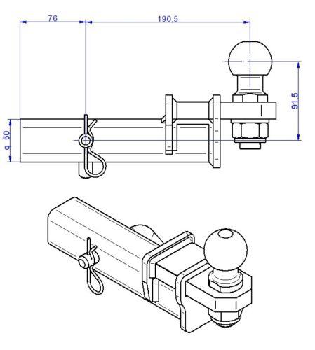 Für Ford Edge Anhängerkupplung Adapter für US-Fahrzeuge 50x50mm