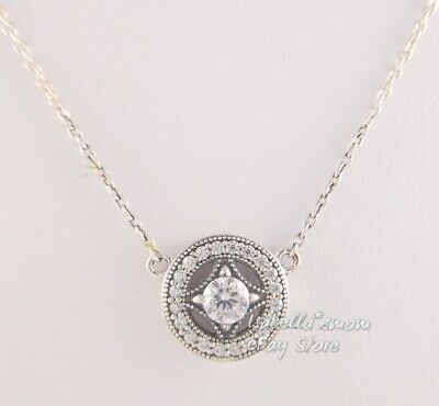 2016 Autumn Release Sterling Silver Vintage Allure Necklace With Clear CZ Necklace Pendant Women Jewelry Chain Length 45CM