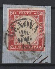 FRANCOBOLLI 1863 SARDEGNA C 40 ROSA VERMIGLIO GENOVA 26/5 Z/5074
