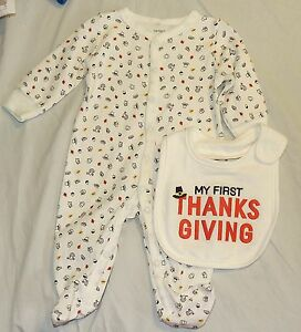 51f66f078 Image is loading New-Baby-Carters-First-Thanksgiving-Turkey-Pajamas-Bib-