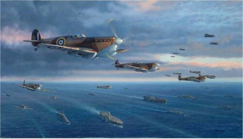 """WW II Spitfires /""""To Malta For Freedom/"""" Jim Laurier S//N Limited Edition Print"""