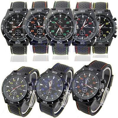 Black Fashion Stainless Steel Luxury Sport Analog Quartz Watch Men's Wrist Watch