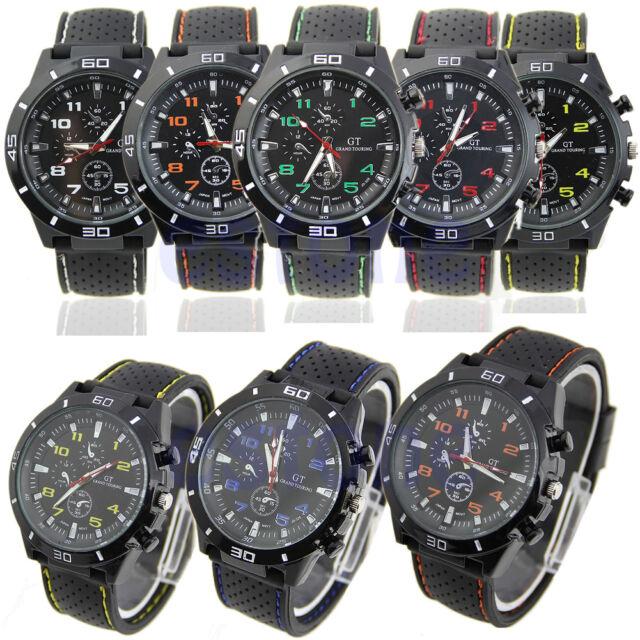 Men's Fashion Black Stainless Steel Luxury Sport Analog Quartz Wrist Watch