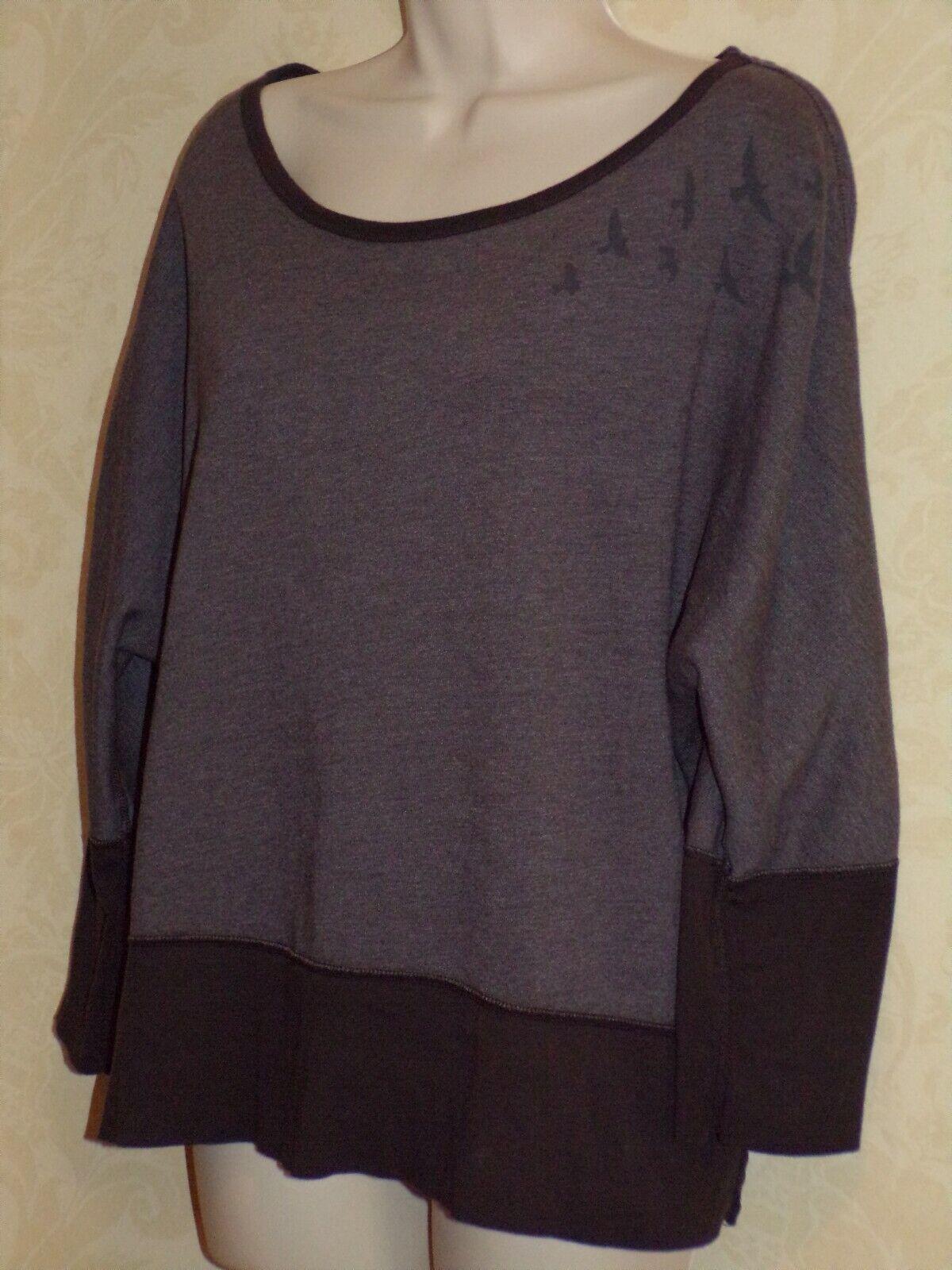 OISELLE Two-tone Brown Birds on Shoulder Wide Neck Long Sleeve Sweatshirt XL