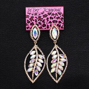 Women-039-s-Earring-Colorful-AB-Crystal-Leaf-Dangle-Eardrop-Betsey-Johnson-Ear-Stud
