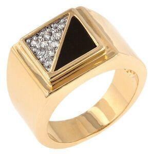 18K-GOLD-EP-ONYX-DIAMOND-SIMULATED-MENS-STYLISH-DRESS-RING-sz-9-14-you-choose