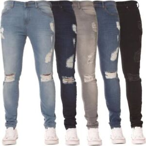New-Mens-Skinny-Jeans-Super-Stretch-Ripped-Style-Denim-Pants-Trousers