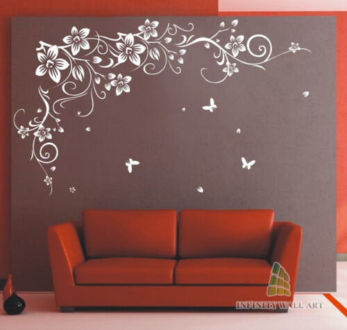 Wall Stickers Tree Flower Kids Art Murals Decals Butterfly Vinyl Decors--D646