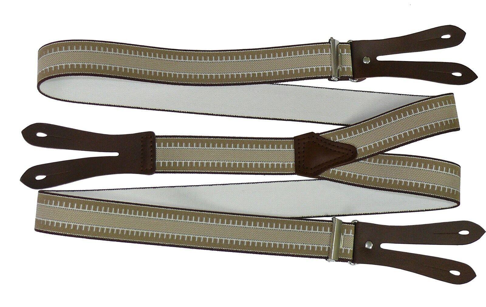 Hosenträger mit Knopfloch aus echten Lederpatten 11 Farben zur Wahl