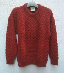 Mans-Red-Aran-Pullover-Wool-Sweater-46-034-XL-Jumper-Cable-Pure-Irish-Carraig-Donn