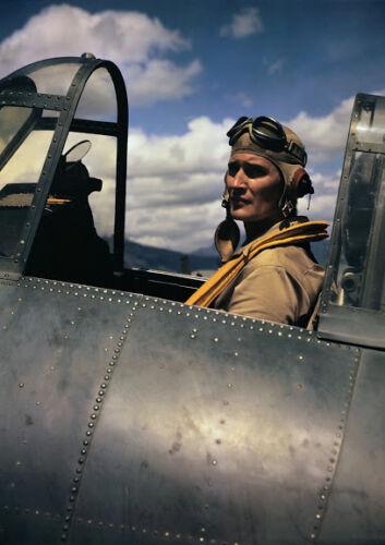 Art print POSTER CANVAS Pilot Joe Foss Sitting in Cockpit