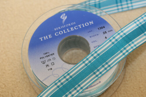 TURQUOISE PEACOCK BLUE Berisfords CANDY CHECK GINGHAM Ribbon 25mm 1304 #4