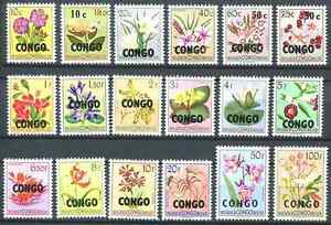 Republique-du-Congo-382-399-Fleurs-Flowers-1960-MNH