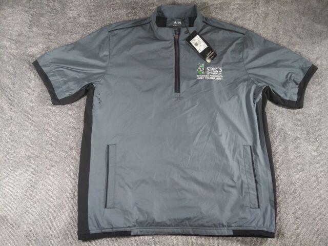 f691b7c7c99dc $75 Men's Adidas 1/4 Zip SPEC'S climaproof Wind Short Sleeve Golf Jacket Sz  L