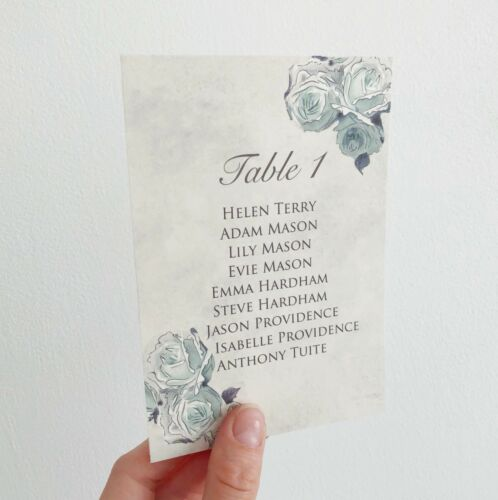 Wedding Table Plan Cards Seating Planner Vintage Style Blue