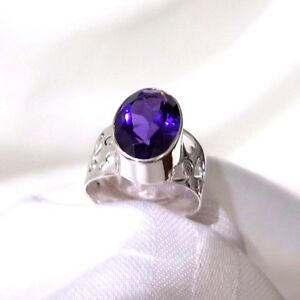 925-STERLING-SILVER-WIDE-CUTOUT-PATTERN-BAND-amp-AMETHYST-GEMSTONE-RING-SIZE-10