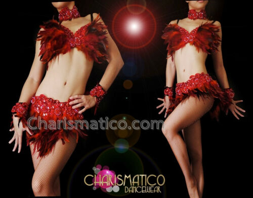 CHARISMATICO sequin Appliqué accented multi-shade red feather bra and skirt set
