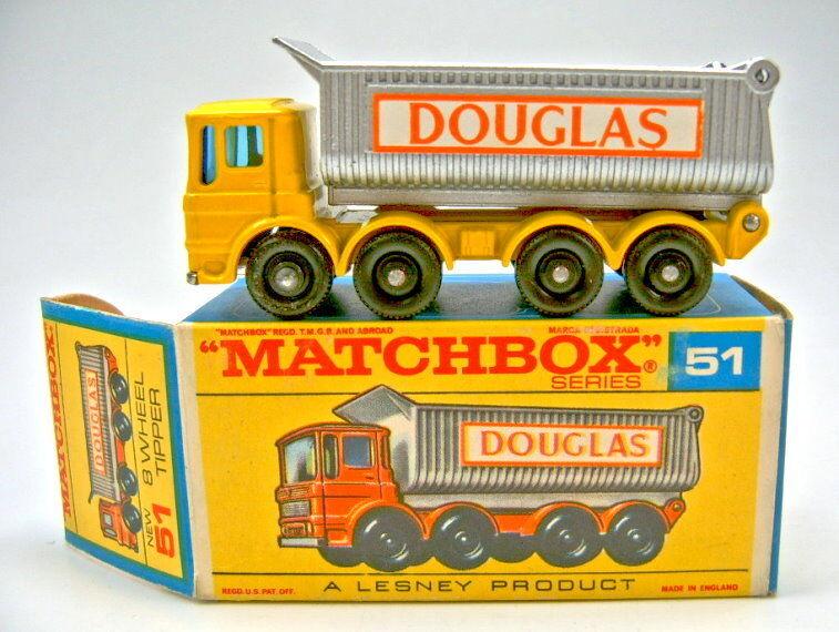 Matchbox - rw 51c 8 rad tipper gelb & silber  douglas  auf  f  - box