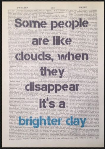Brighter Day Quote Quirky Funny Print Vintage Dictionary Page Wall Art Picture