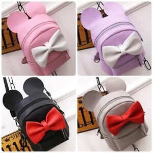5d9a5ae27fb3 Minnie Mouse Mini Backpack Mickey Ear Bow Girls School Bag Cartoon ...