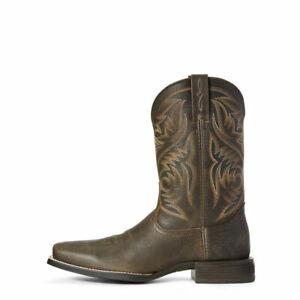 Bottes cowboy mexicaines à la main en cuir brun de Brooklyn en cuir marron