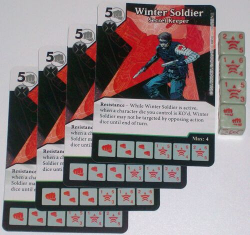 4 X WINTER SOLDIER SECRET KEEPER 104//142 Civil War Dice Masters