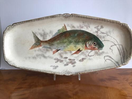 Große eckige Jugendstil Keramik Fisch Platte - Franz Anton Mehlem Bonn