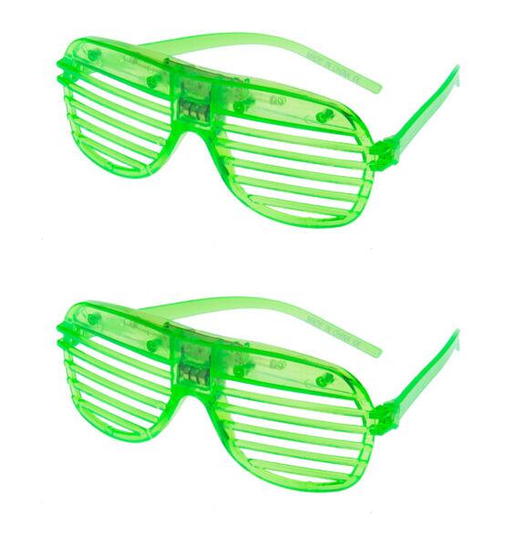 2 Green Led Lampeggiante Otturatore Occhiali Con Luce Rave Intaglio Festa Sole
