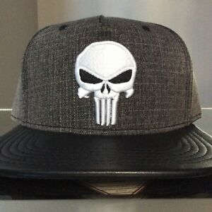 new arrival 0cf65 6c18e Image is loading MARVEL-PUNISHER-SNAPBACK-HAT-Dark-Gray-and-Black-