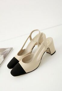 Runway-Style-Leather-Slingback-Sandals-Beige-or-Black-Heels-Shoes-Pump